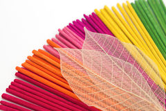 Colorful aroma  incense sticks for spa treatment Royalty Free Stock Photography