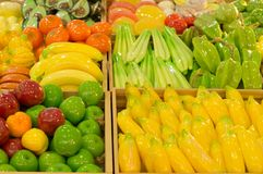 Colorful aroma soaps in different fruit designs. Are on sale in department store Stock Photos