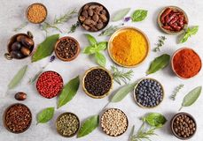 Colorful and aromatic herbs and spices. stock photography