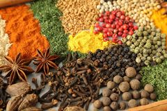 Herbs and spices. Colorful and aromatic spices and herbs. Food additives Stock Photography