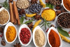 Spices and herbs. Colorful and aromatic spices and herbs. Food additives royalty free stock photo