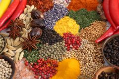 Spices and herbs. Colorful and aromatic spices and herbs. Food additives Stock Photo