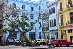 Colorful arquitecture in Cuba. Colorfull in Havana with old cars Royalty Free Stock Photos