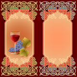 Colorful arrangement with  glass of wine and grapes Royalty Free Stock Photos