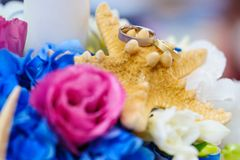 Colorful arrangement for wedding rings stock images
