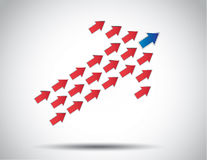 Colorful arrow of arrows moving up lead Royalty Free Stock Photos