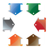 Colorful arrow bookmark. Arrow pointing at the content Stock Photo