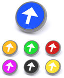 Colorful arrow buttons. 3d illustration of colorful directional arrow buttons; white background Stock Images