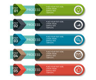 Colorful arrow design elements for business infographics. Vector template with 5 steps, parts, options, stages.  stock illustration