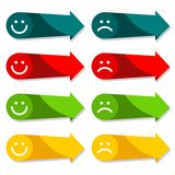 Colorful arrow icon set with smiley,  web infograp Stock Photo