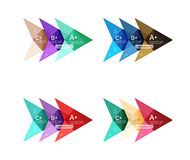 Colorful arrow option infographics banners, business geometric templates. Colorful arrow option infographics banners, business geometric universal templates Royalty Free Stock Images