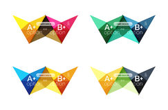 Colorful arrow option infographics banners, business geometric templates. Colorful arrow option infographics banners, business geometric universal templates Stock Photos
