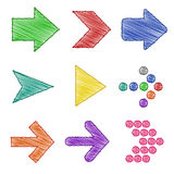 Colorful Arrow pen shading sets Stock Images