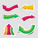 Colorful arrow stickers with shadow Stock Photography