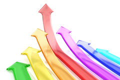 Colorful arrows. Pointing up - 3D render Stock Photos