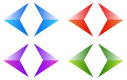 Colorful arrows, arrowheads. Shiny, glossy arrow symbols, button Stock Images