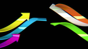 Colorful arrows on black background, 3D animation, seamless loop stock video