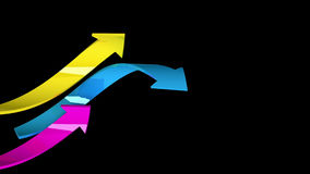 Colorful arrows on black background, 3d illustration Stock Photos