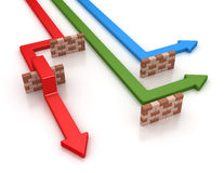 Colorful arrows and brick barrier Royalty Free Stock Photo