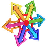 Colorful arrows of different directions with red center on white Royalty Free Stock Photography