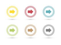 Colorful arrows in dotted circle icon set. Modern style Stock Images