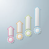 Colorful Arrows With Gears Chart Infographic Design. Colorful arrows with gears on the grey background. Eps 10  file Stock Image