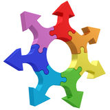 Colorful arrows joined into jigsaw puzzle wheel on white Royalty Free Stock Image