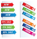 Colorful arrows and labels. Stock Images