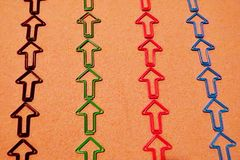 Colorful Arrows in a Line Pointing Up royalty free stock image