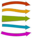 Colorful arrows pointing right. 5 shape and colors Royalty Free Stock Photos