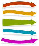Colorful arrows pointing right. 5 shape and colors Stock Photo
