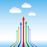 Colorful arrows pointing to the sky Stock Images