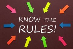 Know The Rules. Colorful arrows pointing to text `KNOW THE RULES!`. Business Concept royalty free stock image