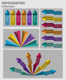 Colorful arrows and pyramid info graphic stock photos