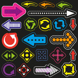 Colorful arrows. Set of patches, badges, stickers. Colorful arrows with stroke. Direction, target, pointer and other signs vector illustration