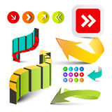 Colorful Arrows Set. Vector 3D Arrow Icons Isolated on White Background Stock Illustration