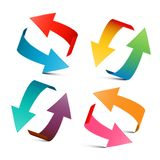 Colorful Arrows Set. Vector 3D Arrow Design. Colorful Arrows Set. Vector 3D Arrow Logo Design stock illustration