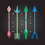 Colorful arrows Tribal art Four elements symbols Four arrows Inspiration quote Motivational words. Encouraging phrase Positive thinking Dream, create, inspire Royalty Free Stock Photo