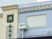 Colorful Art Deco features on a building exterior Stock Photo