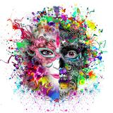 Human skull helloween poster. Colorful art or decor painting with human skull Stock Photos