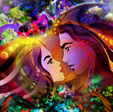 Colorful art or decor painting. With man and woman faces Stock Photo