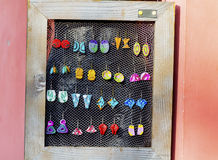 Colorful art earrings Stock Image