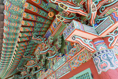 Colorful art on a korean temple Stock Photo