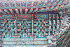 Colorful art on a korean temple Stock Photos