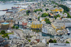 Colorful Art Nouveau city Ålesund Royalty Free Stock Image