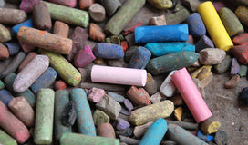 Colorful art pastels. Group of used colorful  art pastels Stock Image