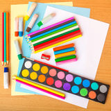 Colorful art supplies Royalty Free Stock Photo