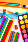 Colorful art supplies Royalty Free Stock Photos