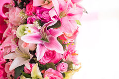 Colorful artificial bouquet flowers. Close up of colorful artificial bouquet flowers Royalty Free Stock Photos