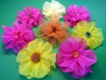 Colorful fabric flowers Royalty Free Stock Images